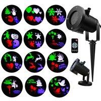 Multicolor 12 Slide Christmas Laser Projector Outdoor Garden Snowflake LED Stage House Landscape Fairy Snowflake LED Spotlight