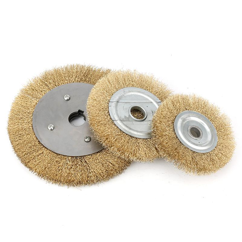 1Pc 100-300mm FLAT Wire Wheel Brushes Brass Petiole Grinding Polishing Accessories For Rotary Tool Electric Abrasive Materials