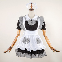 Adult Women Fancy Anime Maid Costume Lolita Sweet Short Plaid Apron Ruffle Bow Dress Ruched Set Black Party Outfit For Teen Girl