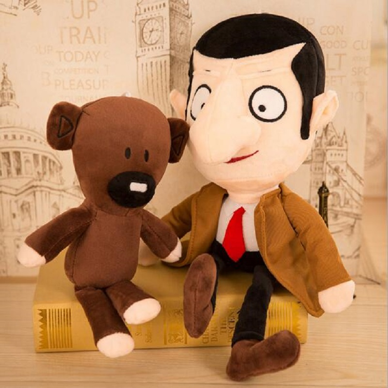 30cm <font><b>Cartoon</b></font> MR. Bean And Teddy Bear Soft Plush Stuffed Toy Kids Accompany Crib Toys Newborns Toddler Appeased Birthday Joute image