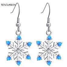 Rolilason Снежинка дизайнерская обувь для дам голубой огненный опал дружеский подарок серебряные серьги-кольца, модные ювелирные украшения OE704