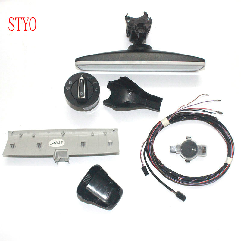 STYO Car Auto headlight switch+Rain Light Wiper Sensor+ Dimming Rear View Mirror For VW Golf 7 MK7