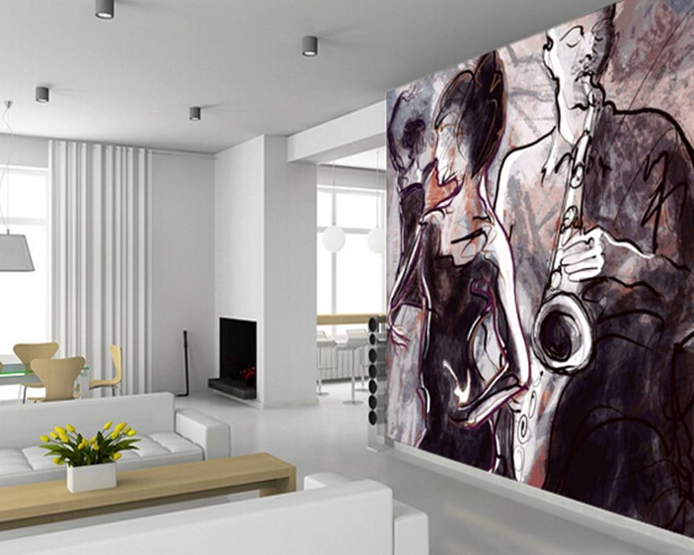 Custom art Wallcoverings,Jazz Band and Dancers,retro wallpaper for living room bedroom kitchen background wall papel de parede 8 china bronze cloisonne eight immortals maitreya buddha censer incense burner d0426