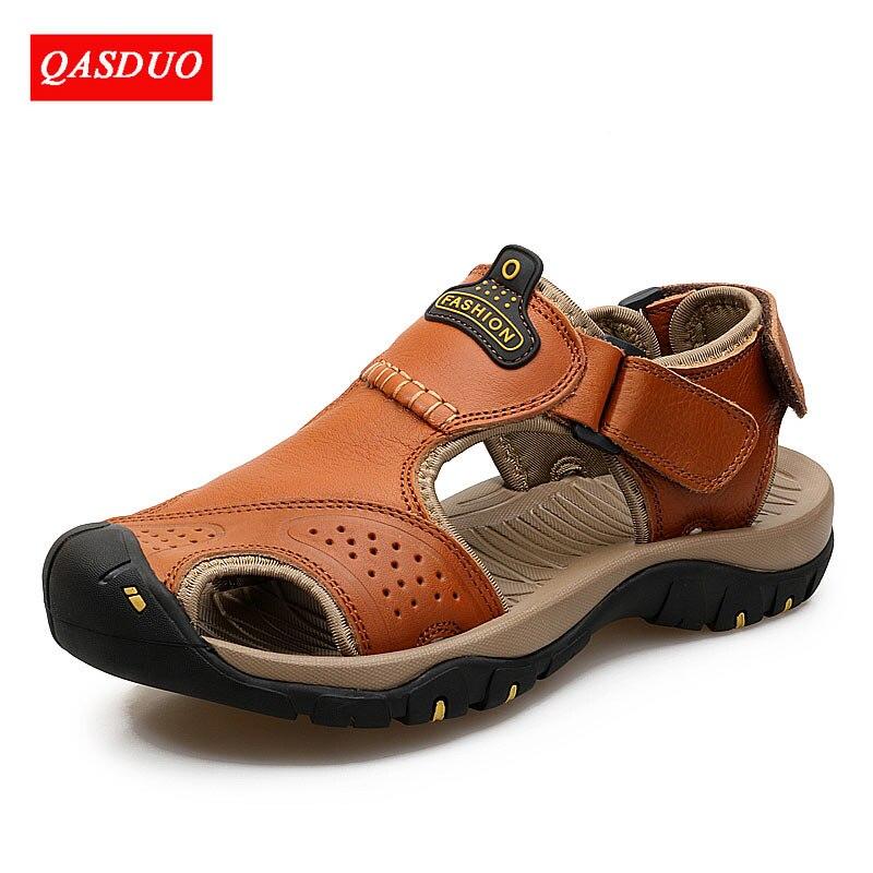 QASDUO/Брендовые мужские сандалии из натуральной кожи; дышащие легкие пляжные повседневные качественные прогулочные сандалии; кроссовки; Лет