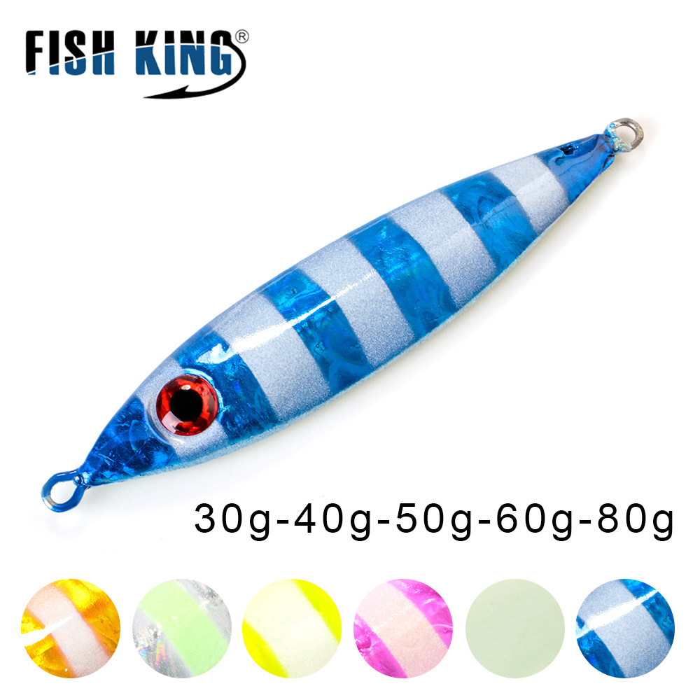 FISH KING 1PC 30G/40g/60G 3D Eyes Laser Body Back Luminous Metal Jig Lure Paillette Knife  Artificial Hard Bait Sea Fishing Lure