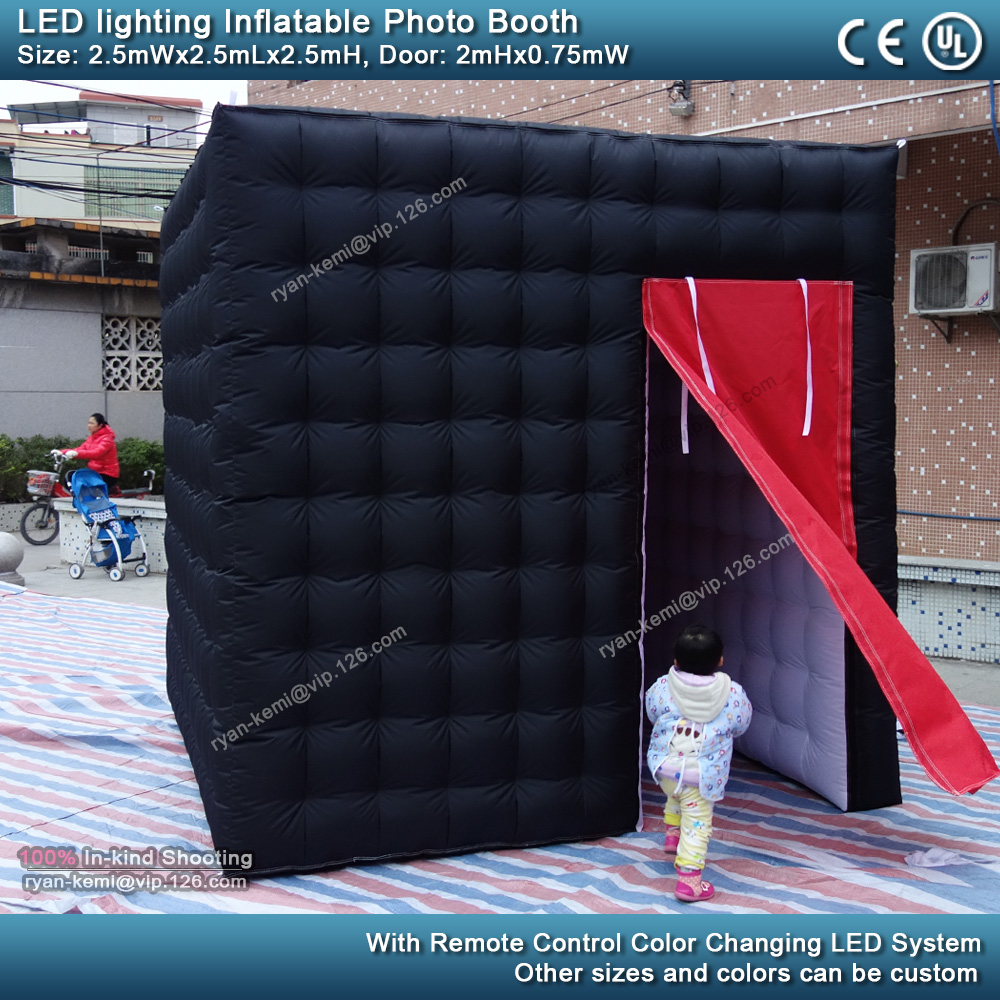 Black and white 2.5m 8.2ft inflatable photo booth LED lighting portable inflatable photo tent enclosure cube tent with blower