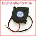 Livraison gratuite EC5015L12H-B 12V 0.18A 5CM 5015 50*50*15mm Ultra silencieux humidificateur Turbo ventilateur de refroidissement