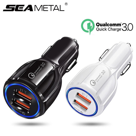 Seametal QC3.0 Car USB Charger Quick Charge Mobile Phone Charger 2 Port USB Fast Charger for iPhone Samsung Tablet Auto Charger Pakistan