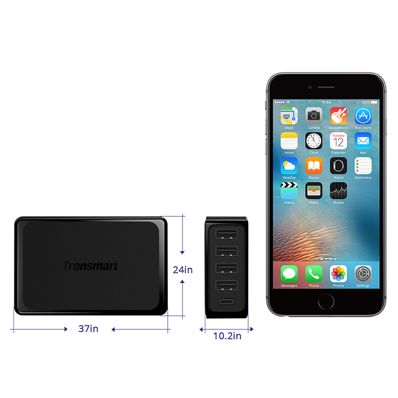 Tronsmart 5 портов USB PD зарядное устройство U5P быстрое зарядное устройство 60 Вт USB-C питания быстрое зарядное устройство для samsung Galaxy S9, S9 Plus, iphone x