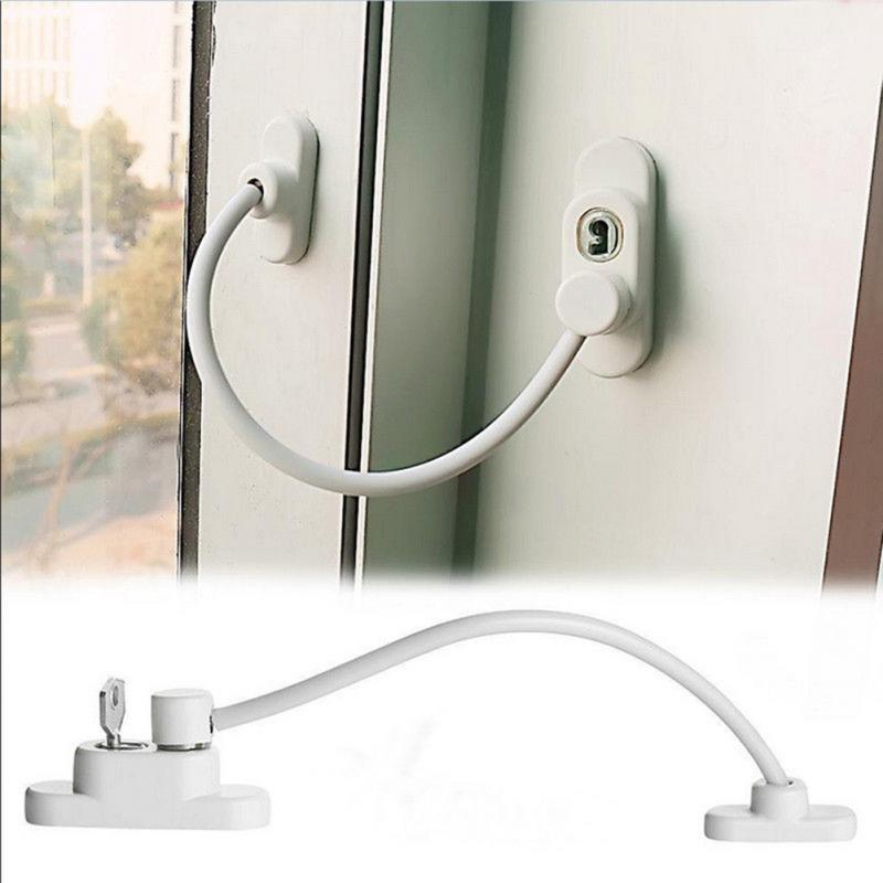 19*6.5*4cm Lockable Window Security Cable Lock Door Safety Restrictor Child Room Window And Door Security Restrictor with Key