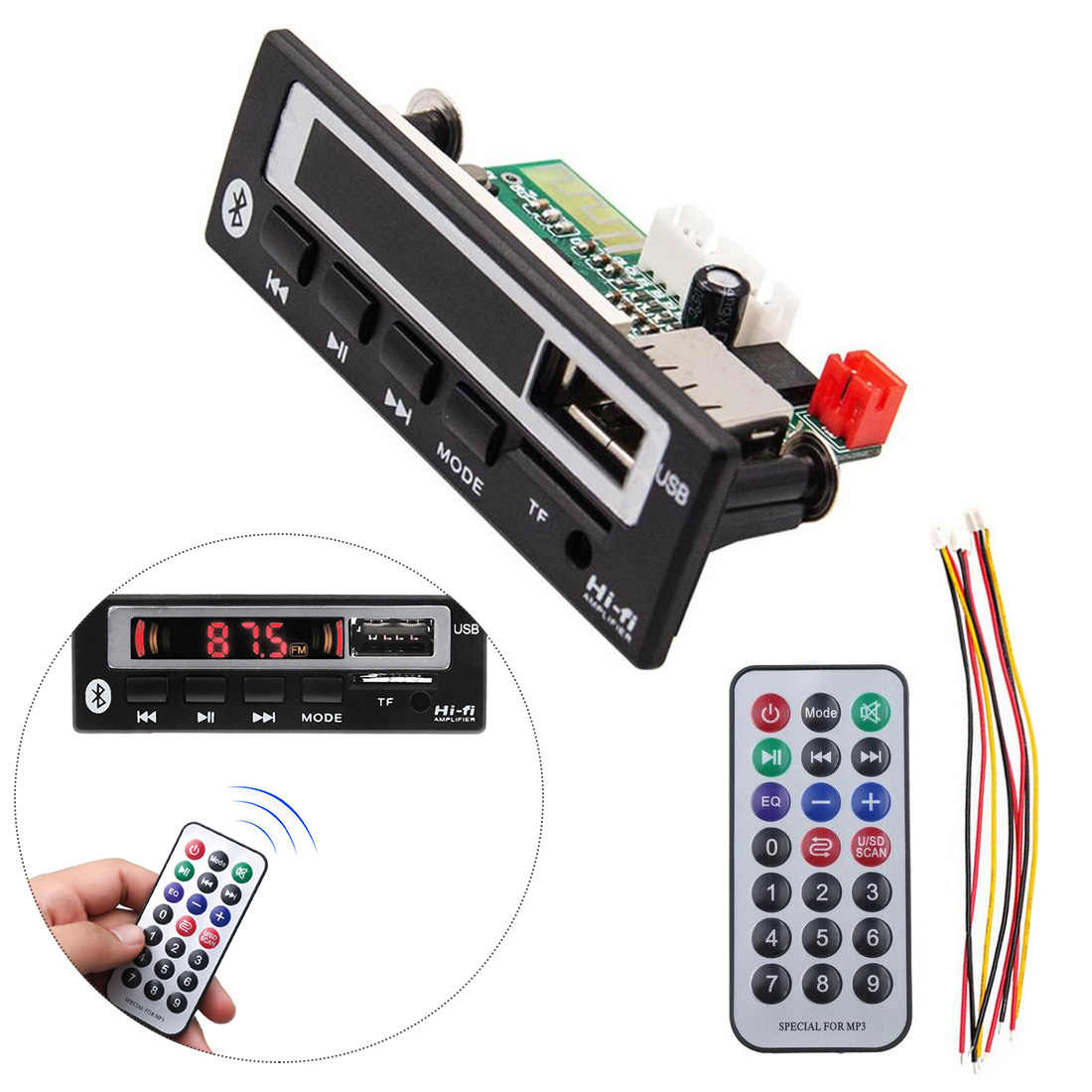 Marsnaska Car accessories Bluetooth5.0 MP3/WMA/WAV/APE Decoder Board 5V 12V Wireless Audio Module Color Screen USB FM Radio