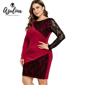 b0660c000c AZULINA Plus Size Lace Women Black Long Sleeve Party Dress