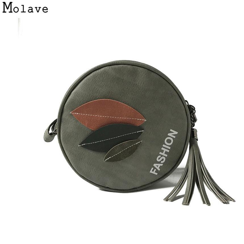 AA Naivety Women Handbag Appliques Leaf Zipper Bag PU Leather Shoulder Bag Round Tote Bags 15S7914 drop shipping