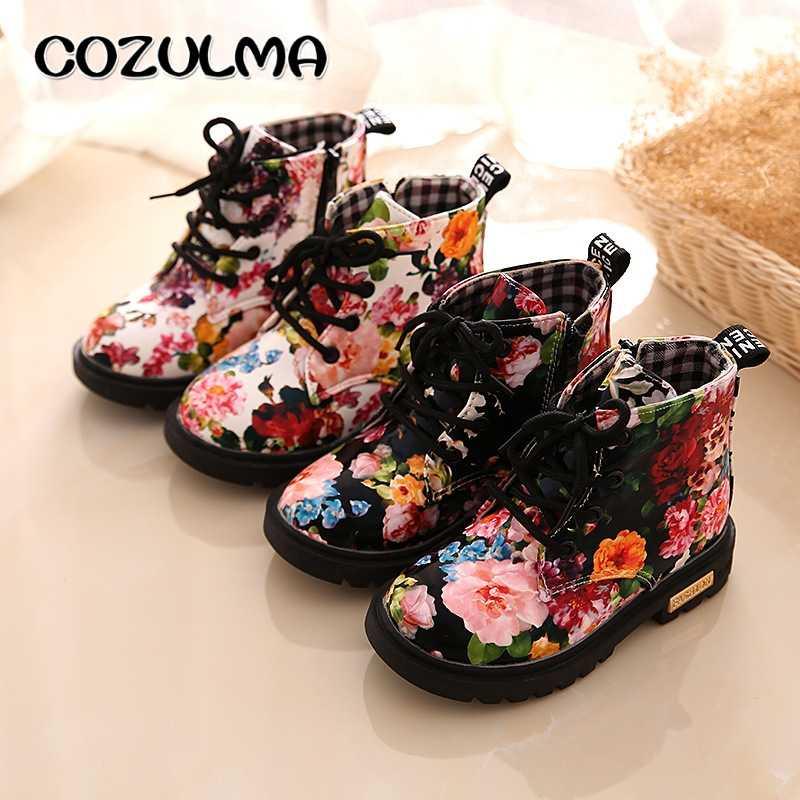 COZULMA botas para niñas Floral elegante flor imprimir botas Zapatos bebé niño Botas Martin botas zapatillas de deporte para niños