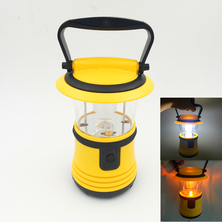 2 Lights Source Yellow White Light Portable Camping Lanterns Tent Light with Handle Hook For Camping