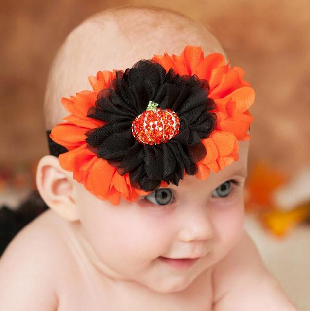 50pcs Halloween Headband Pumpkin Orange Black Fall Autumn Hair Bow Free  Shipping da10548711b