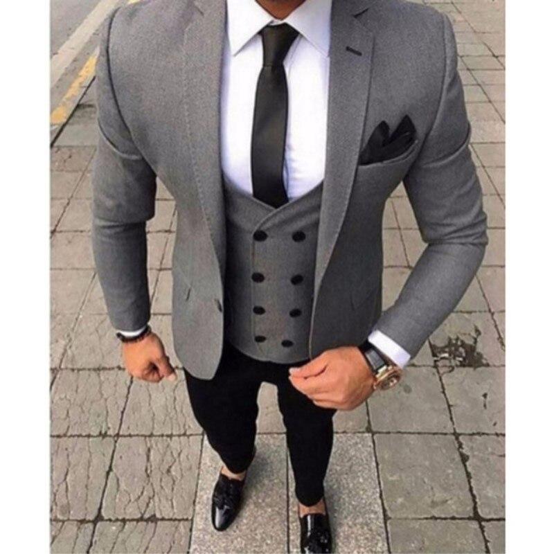 2020 Latest Coat Pant Designs Smoking Grey Men Suit Slim Fit 3 Piece Tuxedo Groom Style Suits Custom Prom Blazer Terno Masculino