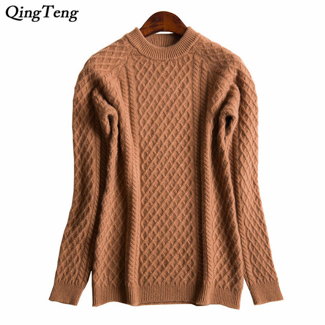 b93738ff8 Cable Knit Sweater Female Tops Long Sleeve Roll Neck Loose Long Light  Weight Knitting Pattern Women s Pullover Jumpers
