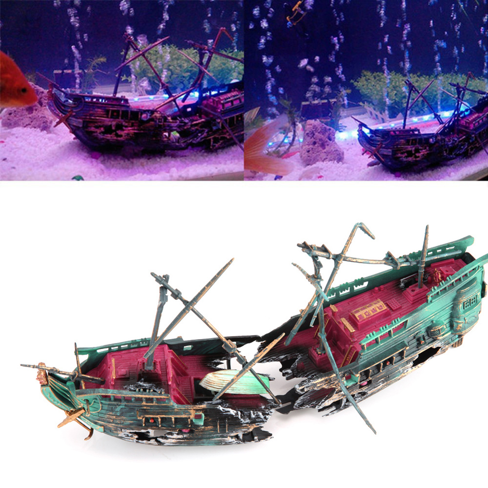 Large aquarium decorations wreck sunk ship for Split fish tank
