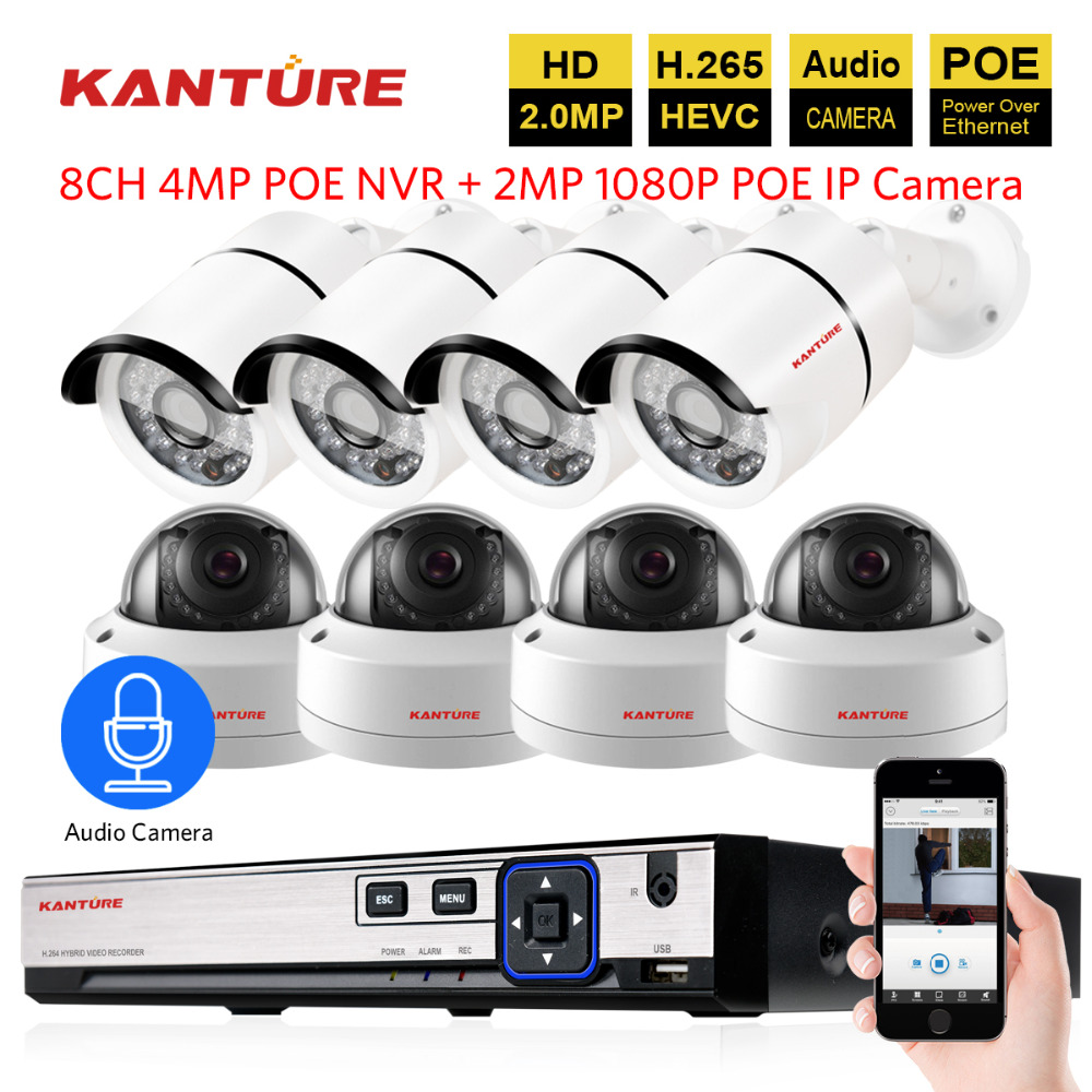 h 265 8CH 4MP POE CCTV NVR system 8X1080P Audio IP66 VandalProof security In Outdoor POE