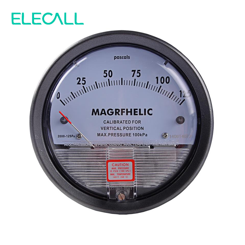 ELECALL 0-125PA TE2000 Micro Differential Pressure Gauge High Precision 1/8 NPT Round Type Pointer Instrument Micromanometer te2000 0 300pa micro differential pressure gauge high