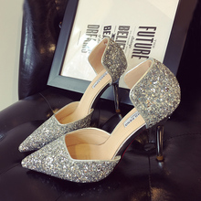 Paillette Red Bottom Wedding Shoes Fashion Shine Sexy Pointed Toe Summer Shoes 2016 Formal Dress Shoes Sequin Pumps Women