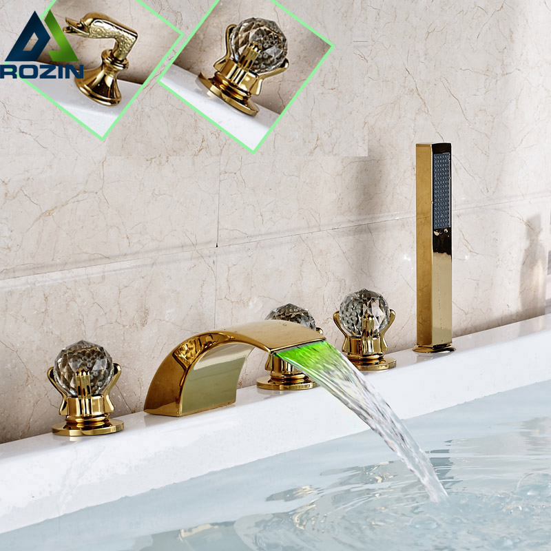 LED Color Changing Waterfall Tub Sink Faucet Widespread Gold-plate Bathroom Roman Tub Mixer Taps with Handshower