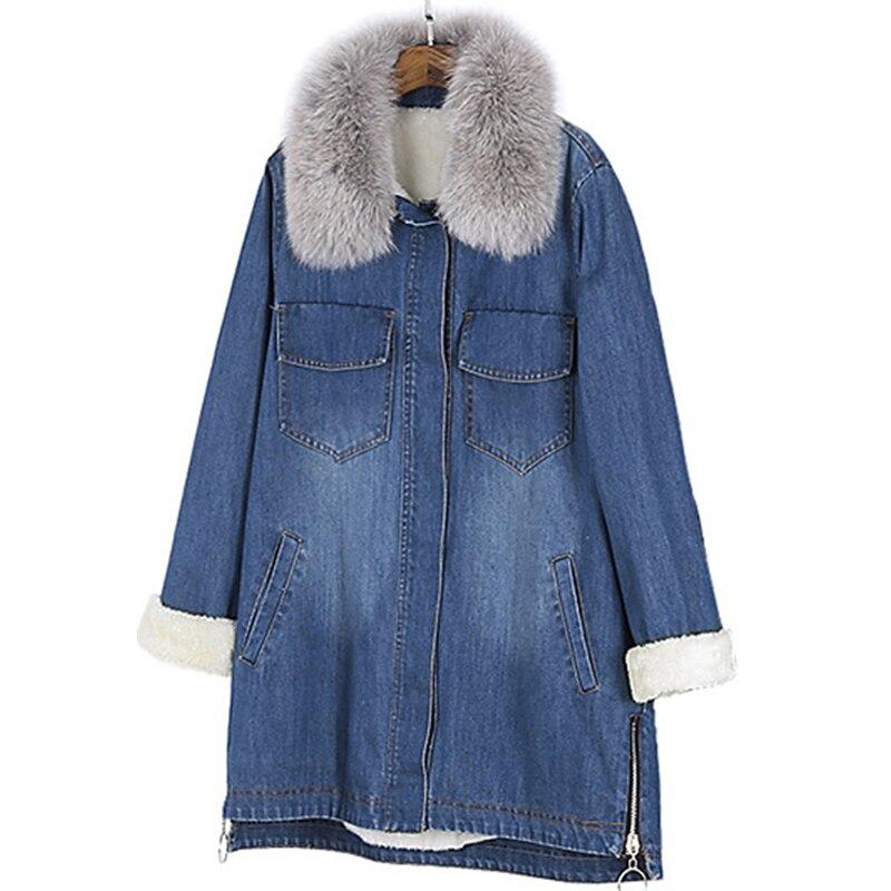 Manteaux blue Pardessus Survêtement Black 2019 Veste Parkas Apoenge Bouton Épais Hiver Femelle Femmes Renard Denim Coton Nouveau Lz571 Pour Réel Jeans WE9eIDH2Y