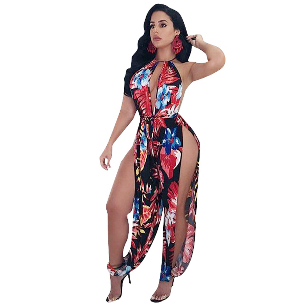 Sexy V Neck Side Slit Floral Printed One piece Jumpsuits Women Sleeveless Rompers Beach Wear Plus Size Loose Jumpsuit
