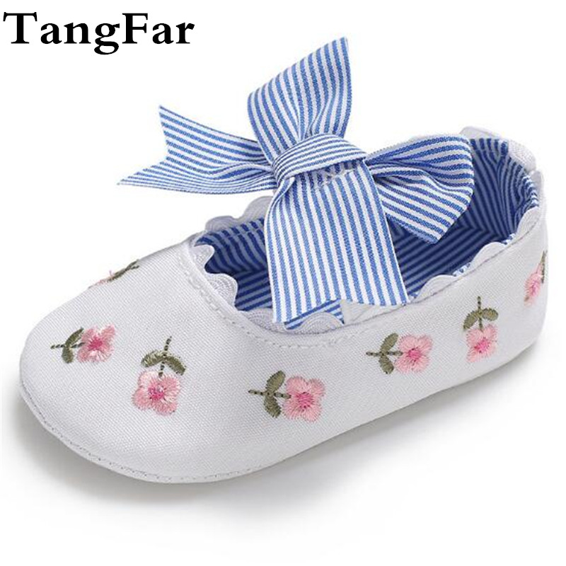Baby Girl Big Bow Embroidered Moccasins Floral First Walker Pretty Causal Shoes Free Shipping