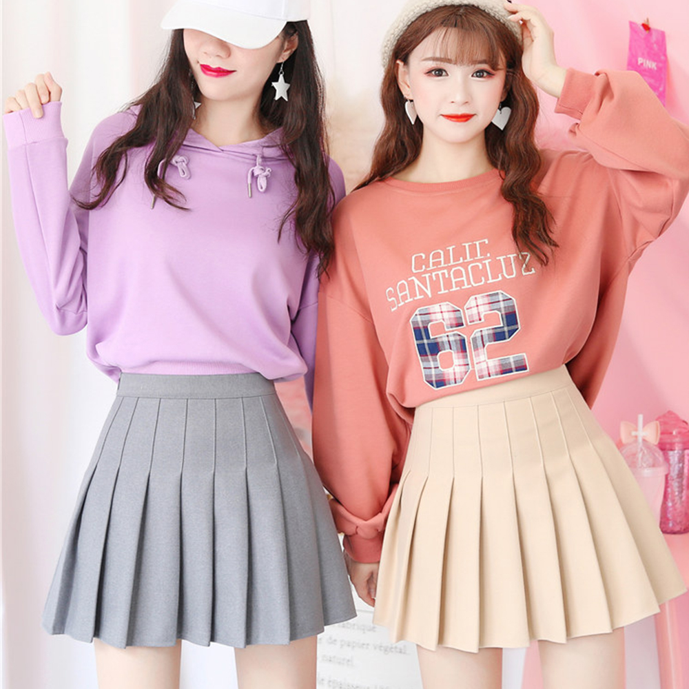 New High Waist A Line pleated skirts Harajuku Lolita Gray White Black a-line sailor skirt Cosplay Japanese school Skirts uniform 4