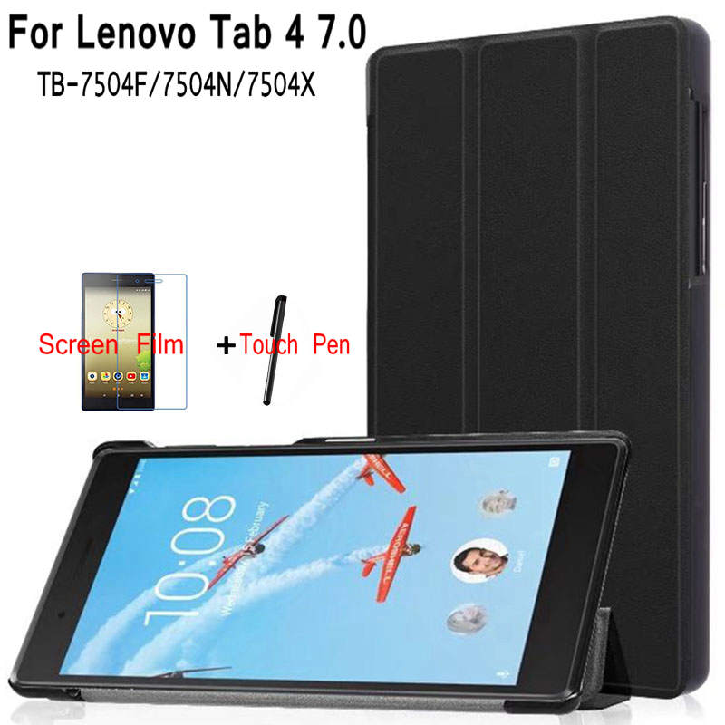 iBuyiWin Ultra-thin Magnetic PU Leather Case for Lenovo Tab 4 7 TB-7504F/7504N/7504X 7.0 inch Tablet Funda Cover+Screen Film+Pen ultra thin smart pu leather cover funda case for samsung galaxy tab s2 t710 t713 t715 t719 8 0 tablet screen protector pen