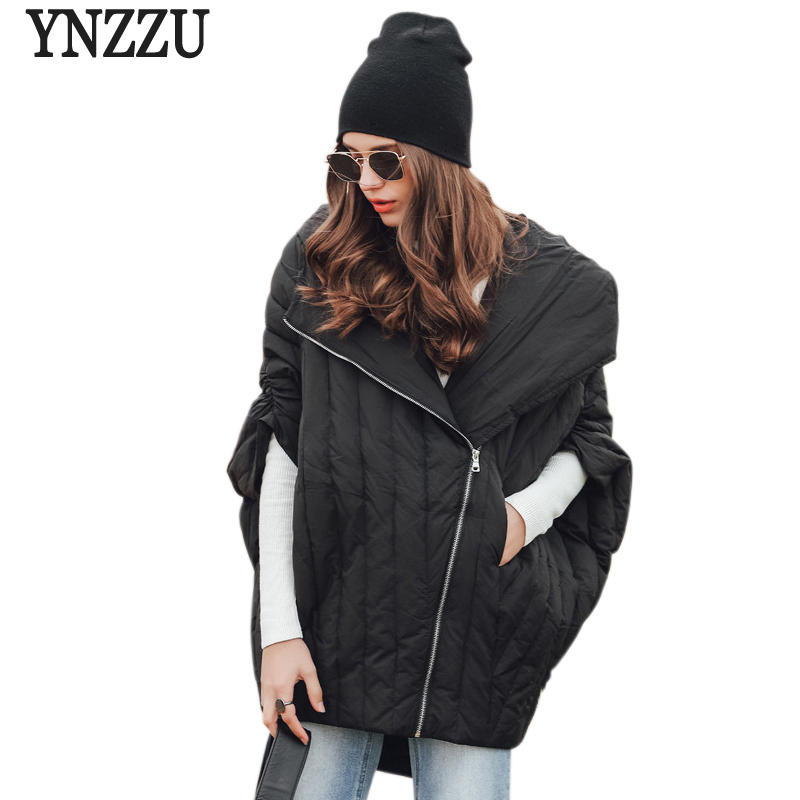YNZZU Brand New Fashion Autumn Winter Womens 90% White Duck Down Jacket Cloak Half Sleeve Oversize Hooded Parka YO444