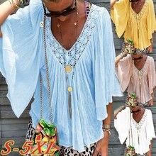 Women V-neck Blouse Casual Half Sleeve Tee Shirt Summer Loose Chiffon Blouses Tops sweet half sleeve round neck ruffled women s chiffon blouse