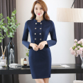 Hotel overalls autumn and winter female reception staff staff dresses long - sleeved beautician flight attendants uniforms