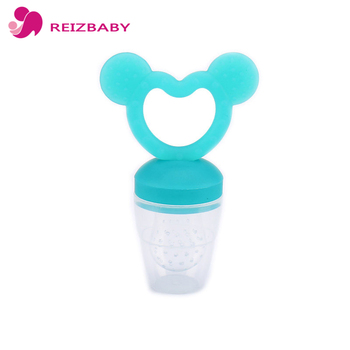 REIZBABY Baby Food Feeder Pacifier Safety Silicone Nipple Handle Rabbit Teether PP Cover for Toddlers Food Supplements Feeding bico de silicone para bebe