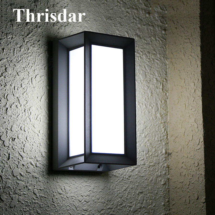 Thrisdar 18W Nordic Outdoor LED Wall Lamps Waterproof IP65 Garden Corridor Porch Lights Aluminum Villa Balcony Stairs Wall Light thrisdar 20w ip65 waterproof wall lamps 40leds outdoor garden porch wall sconce lamp corridor garden hotel pathway porch light