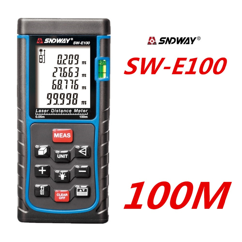 Free Shipping 100M 328ft SW E100 Laser distance meter with bubble level Rangefinder Range finder Tape