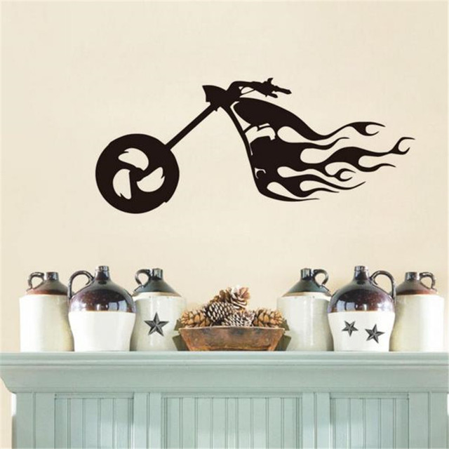 aliexpress.com : acquista flaming bike wall sticker motocross ... - Adesivi Per Camera Da Letto