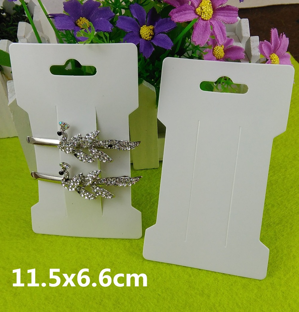 200PCS Hair Clip Card White Paper Jewelry Display Cards Hair Accessory Cards Blank Hairpin Packaging Card Accept Custom Logo