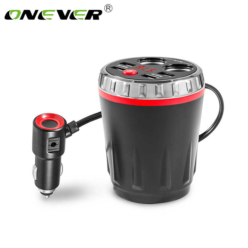 Onever 5V 3.1A 4 USB Expand Back Seat Car Charger Car Cup Electronic Lighter Socket Splitter Tablet Dual Cigarette Lighter