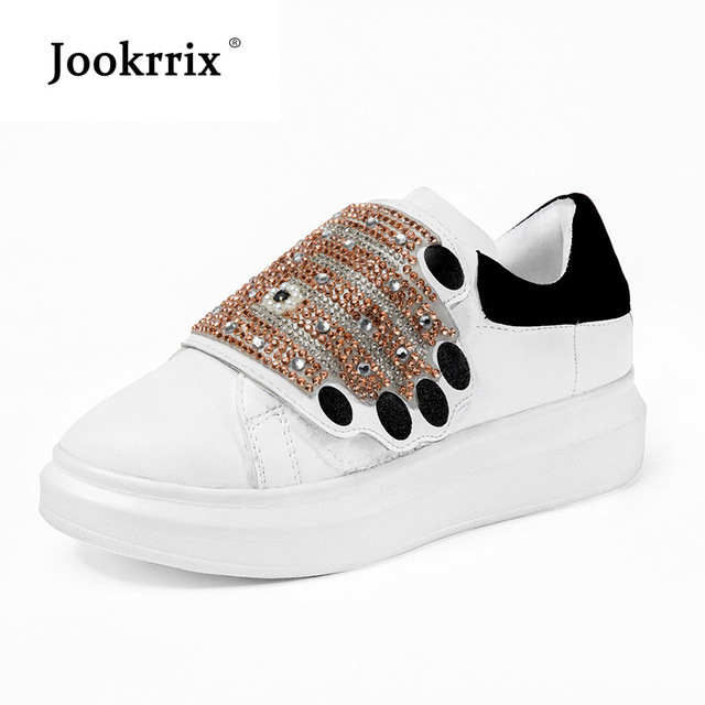 Jookrrix White Shoe Women Fashion Brand Sneaker Rhinestone Lady chaussure  Breathable Autumn Female Platform footware Crystal cae2d93cb04c