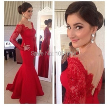 Good Quality Sexy Red Long Open again Prom Dresses V Neckline Lace Mermaid Evening Dresses Women