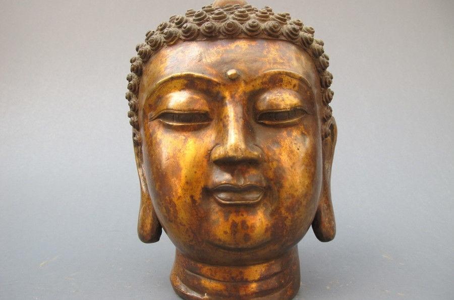 Tibet Buddhism Vintage Bronze Sakyamuni buddha head statueTibet Buddhism Vintage Bronze Sakyamuni buddha head statue