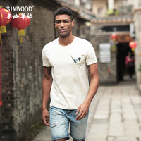 SIMWOOD 2018 Summer Chinese Painting T Shirt Men Birds Print Fashion Tops Street Wear Mens Clothes
