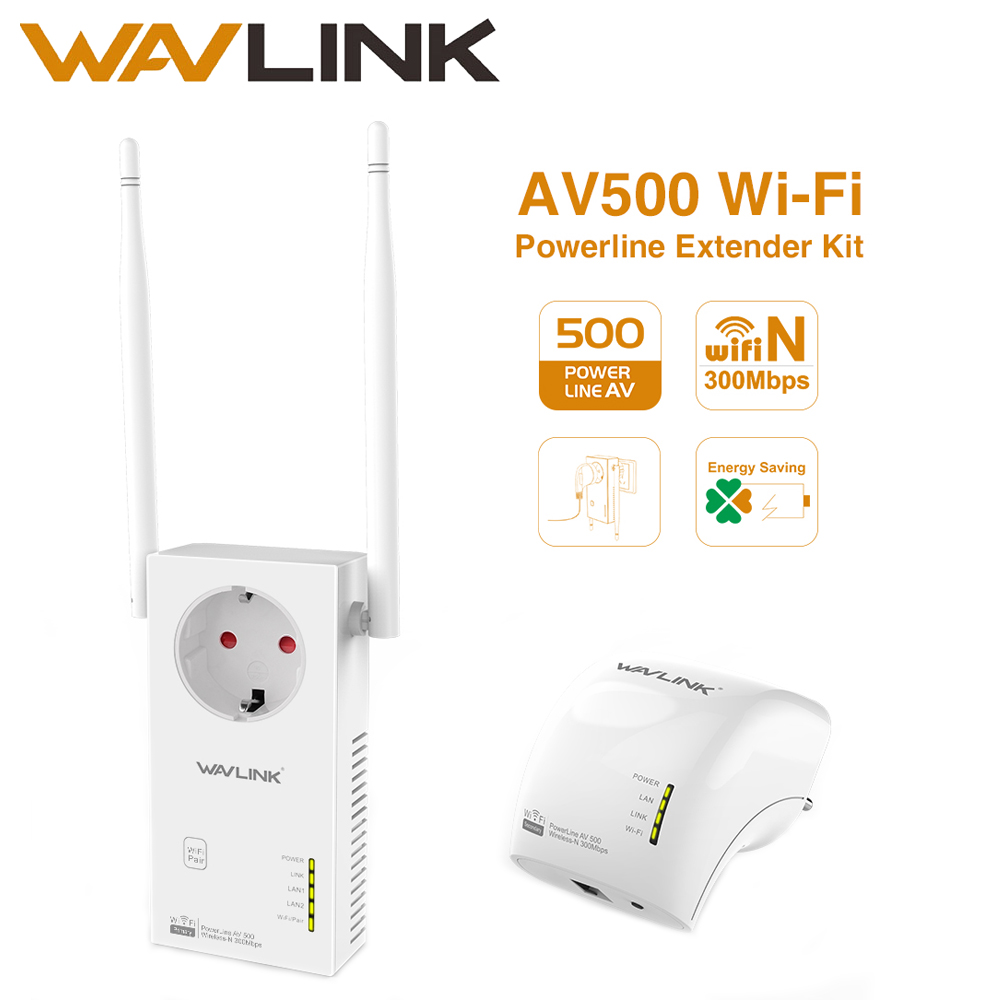 Wavlink AV500 powerline adapter Wireless Wi Fi Extender Kit Power line ethernet adapter wifi Mini plc homeplug Pairs 300Mbps NEW