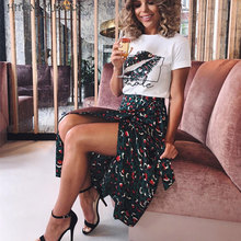HITOM PRINCESS Leopard High Waist Skirts Women 2 Pieces Set Lip Print T Shirt and Long Skirt Sets Two Pieces Outfits Streetwear cheap REGULAR Mid-Calf O-Neck Drawstring Polyester spandex Pullover Casual Short PATTERN Sashes C762 two pieces dress set Calf-Length Pants