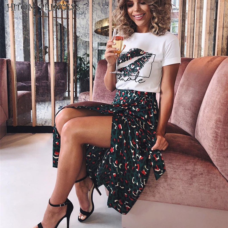 HITOM PRINCESS Leopard High Waist Skirts Women 2 Pieces Set Lip Print T Shirt And Long Skirt Sets Two Pieces Outfits Streetwear