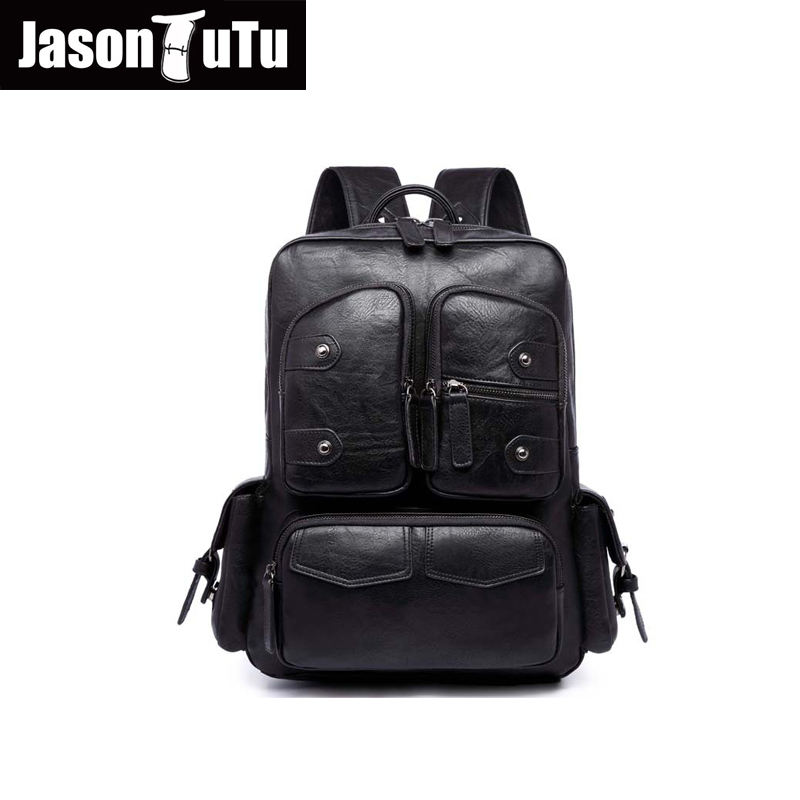 JASON TUTU Leather backpack 14/15 inch laptop backpack high quality PU black backpack Multi-pocket 2017 Latest styles B221 12mm waterproof soprano concert ukulele bag case backpack 23 24 26 inch ukelele beige mini guitar accessories gig pu leather