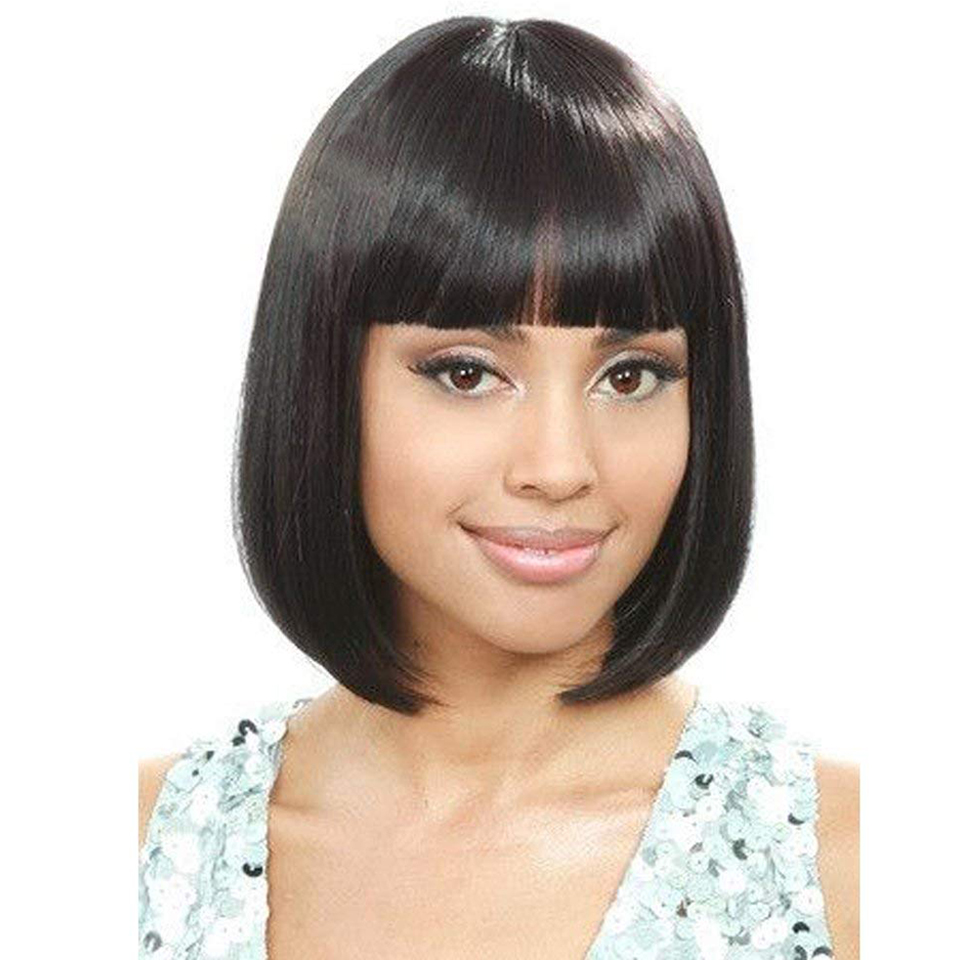 Omber Blue Wigs with Bangs for Black Women Synthetic Straight Blue Bob Hair African American Wigs for Women JINKAILI